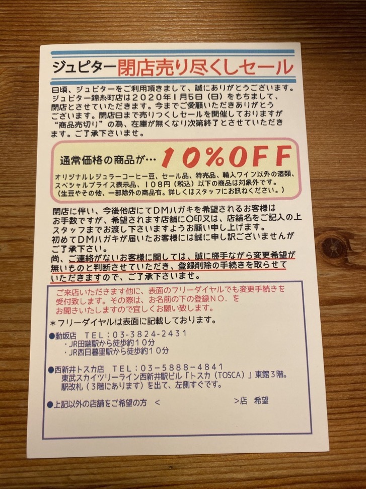 錦糸町のジュピターコーヒーが閉店
